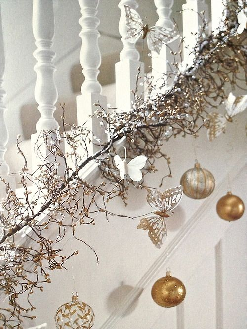 banister christmas garland with white balls - Banister Christmas Garland Decor