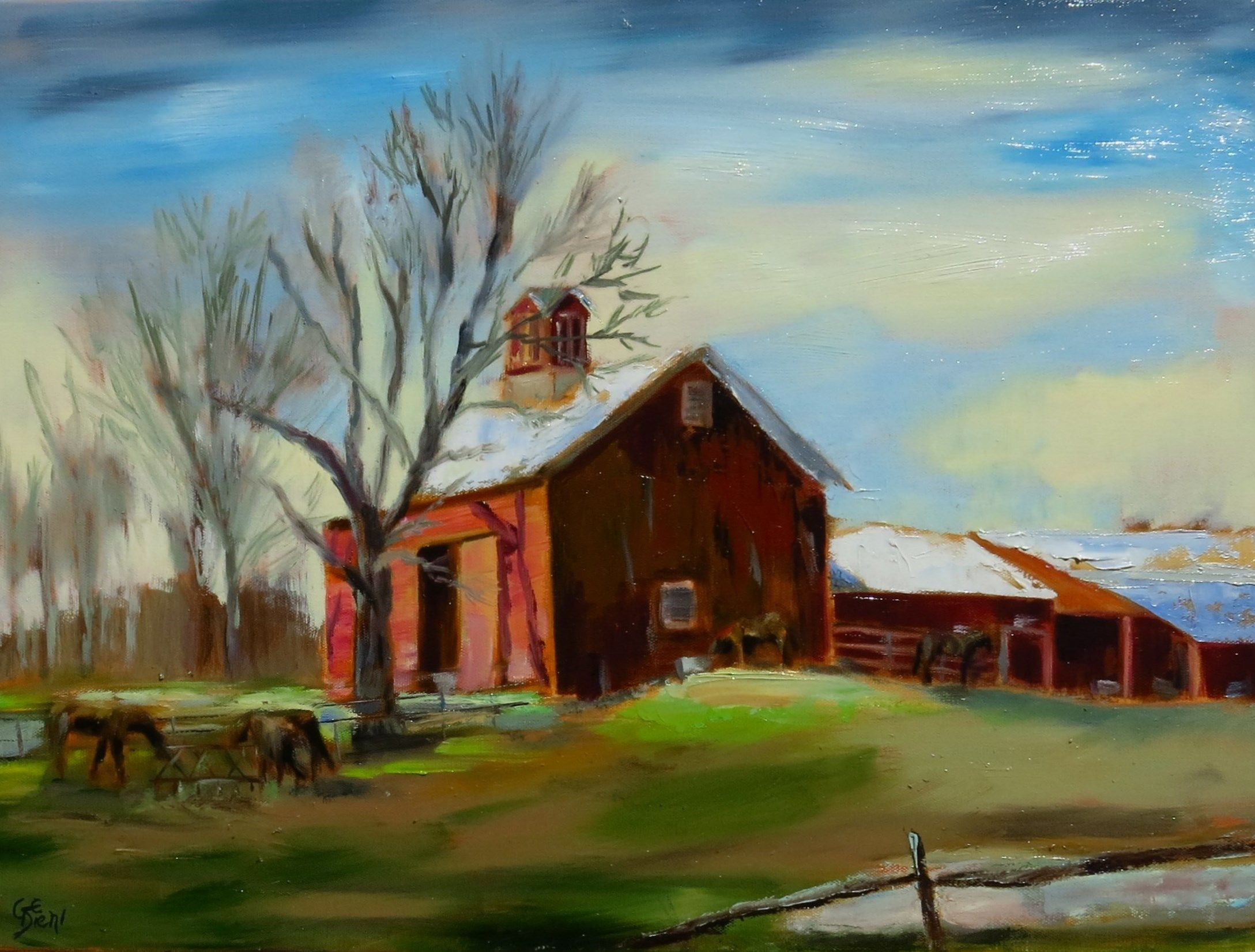 in this rustic country a barn brightly lit on Rustic Country Paintings id=67171