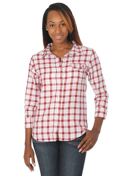 018ed16c1f71a Cheer on Bama while looking fab and staying comfy! Our Plus Size Alabama  Crimson Tide Boyfriend Plaid Shirt is the…