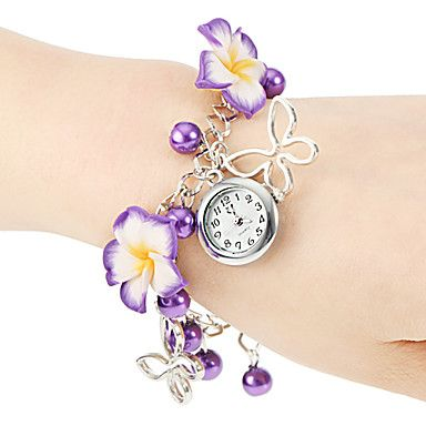 Women's Flower Style Alloy Band Quartz Bracelet Watch (Assorted Colors) – USD $ 3.99