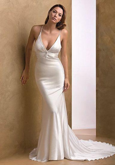 V Neck Silk Mermaid Wedding Dresses