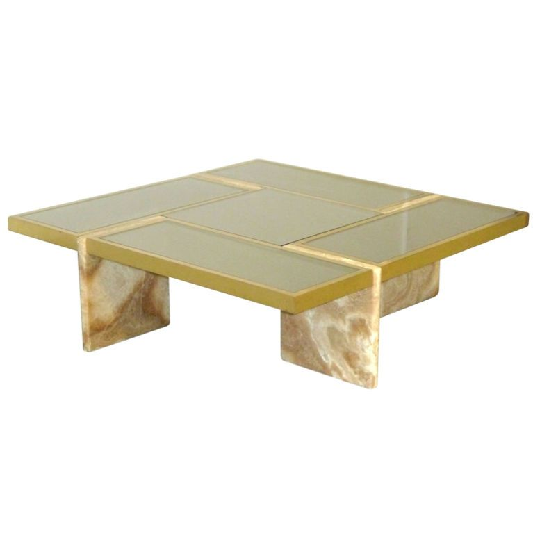 Marble Glass Top Coffee Table: Marble Based Glass Top Coffee Table In The Manner Of Willy