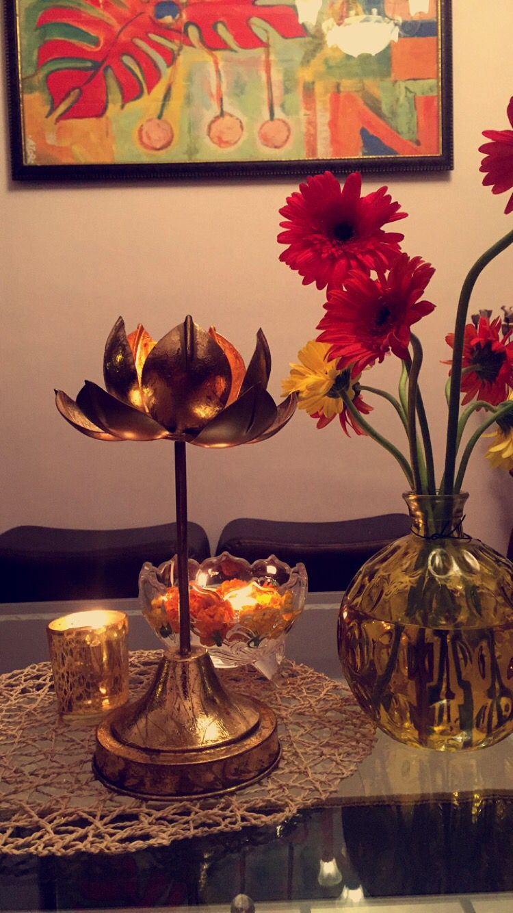 Table Center Piece Decor For Diwali Fresh Flowers Bronze Lotus Candle Floating Glass Festive Interior Living Room Cosy Room Table Centerpieces Decor