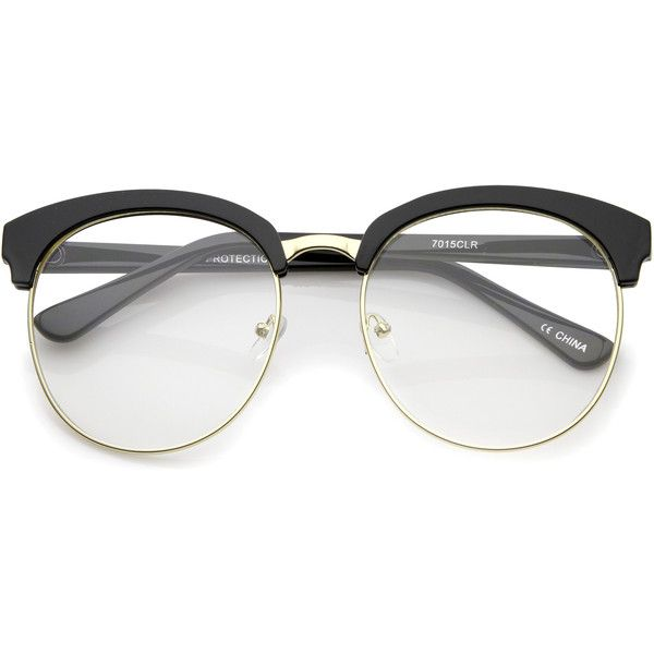 Women\'s oversize half frame clear lens glasses a650 ($14) ❤ liked ...