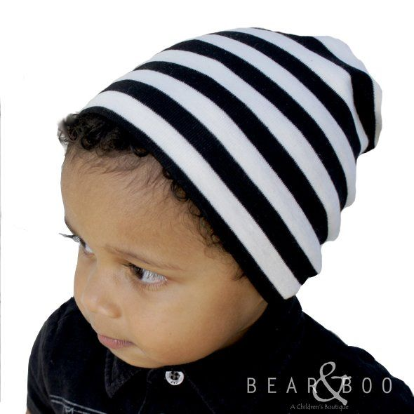 Stripes never get old! Our favorite beanie of all time! Available online at Bear & Boo Children's Boutique!
