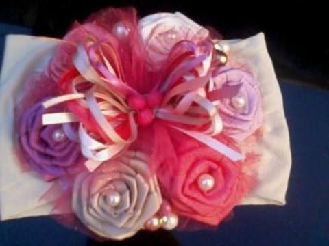 Como hacer una tiara con mo o de rosas de liston youtube - Como hacer diademas ...