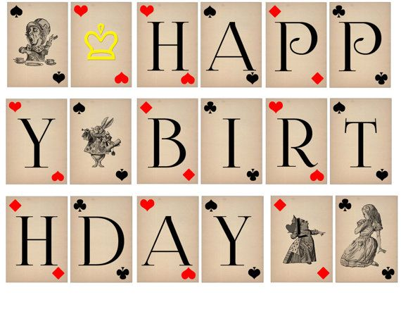 This birthday banner features vintage styled cards with graphics from the classic Alice In Wonderland book. ***Please Note *** You will not receive