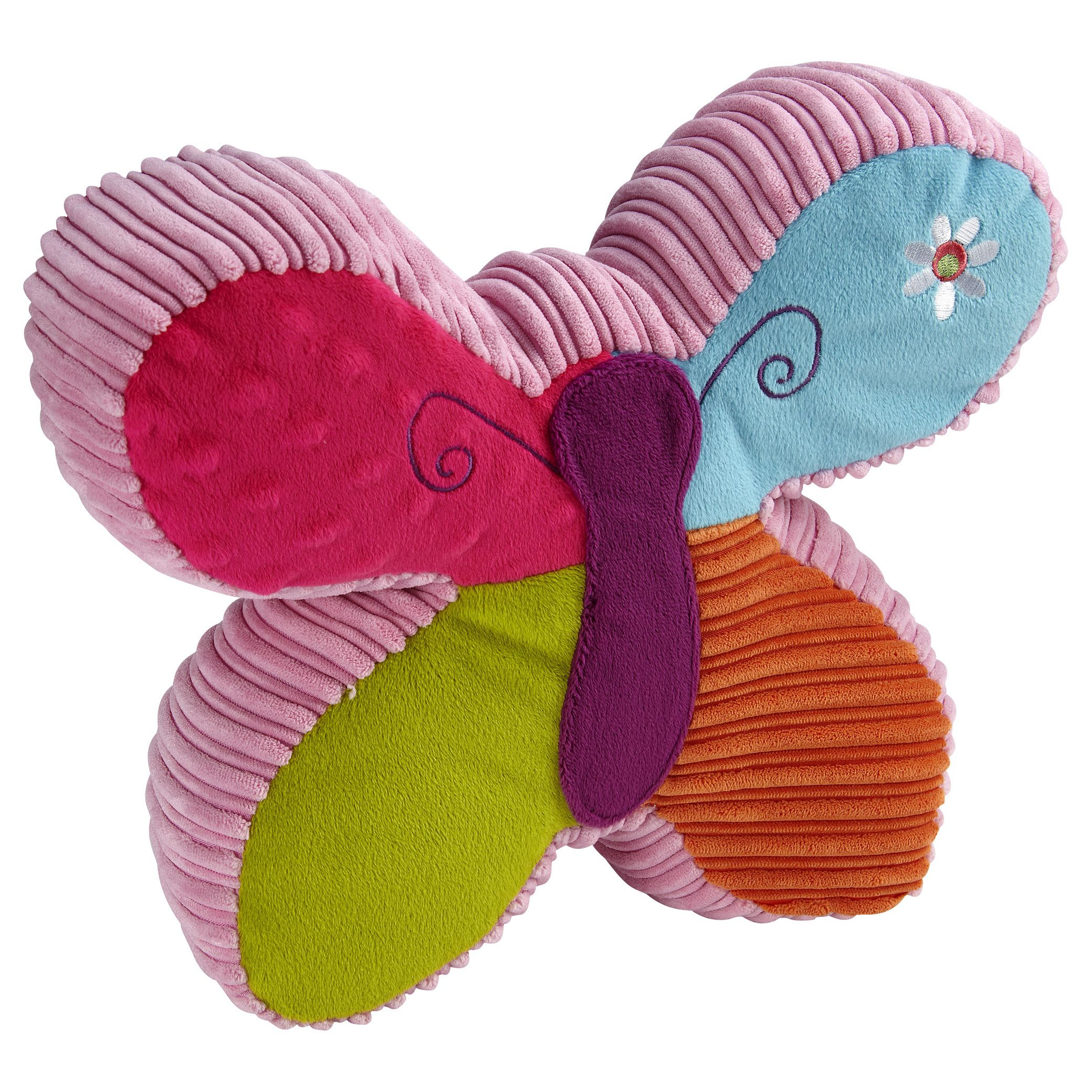 Dress up your child's bed with the Garanimals Wild Flower Butterfly Pillow. This eye-catching piece also works beautifully as a throw pillow on a chair in your child's bedroom. It features cheerful, bright colors and an applique with cute embroidery.