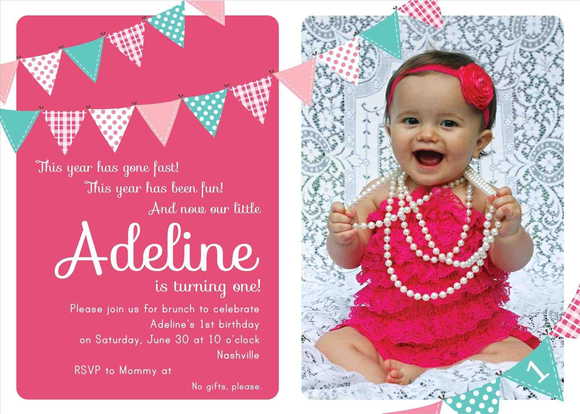 First Birthday Invitation Bunting Flags Banner Photo Printable Invite Pink And Birthday Invitations First Birthday Invitations Birthday Invitation Templates