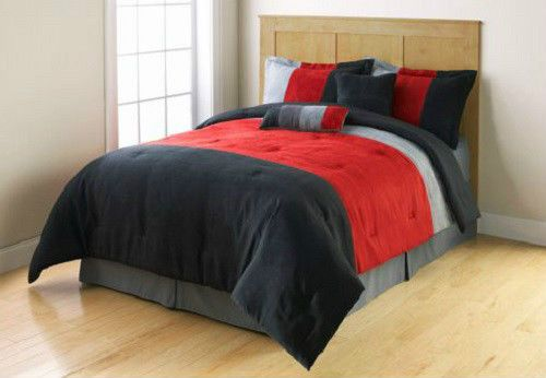 TWIN Red Grey Black MICROSUEDE STRIPE COMFORTER Bedding SET