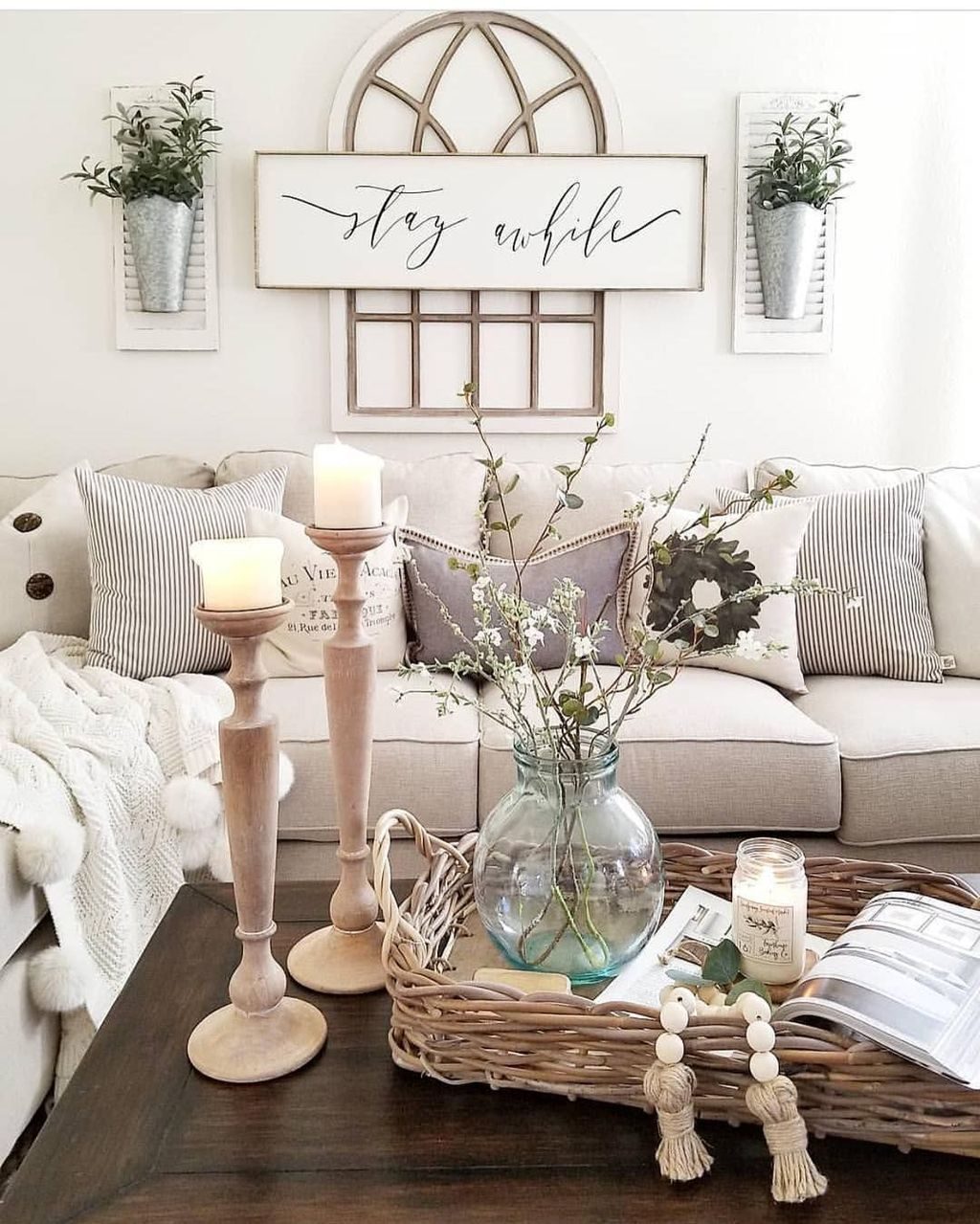 awesome country farmhouse decor living room ideas http twohomedecorsfo also like the wreath behind couch our first home pinterest rh