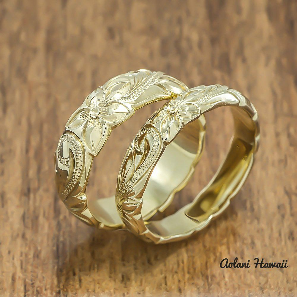 gold wedding ring set of traditional hawaiian hand engraved 14k yellow gold barrel rings 4mm 6mm width - Hawaiian Wedding Rings