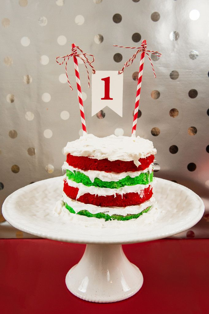 Red Green Cake For First Birthday Smash Holiday Themed