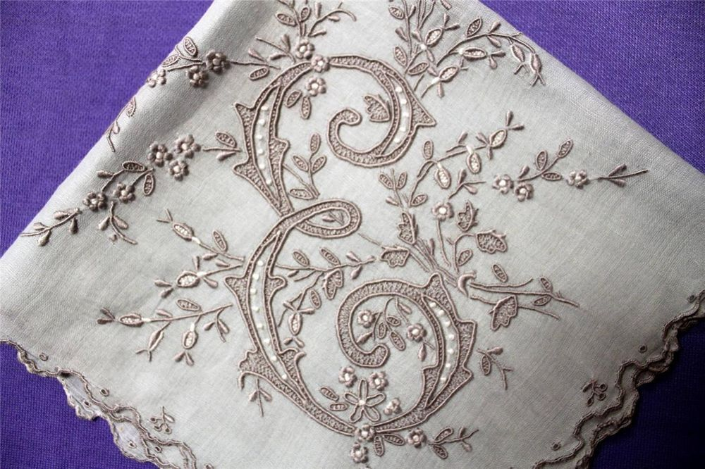 "Vtg E  MONOGRAM Lady's Linen Handkerchief MADEIRA 14 x 15"" Wedding Gorgeous! #Madeira #Wedding"