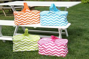 Insulated Picnic Basket - Orange Zig Zag