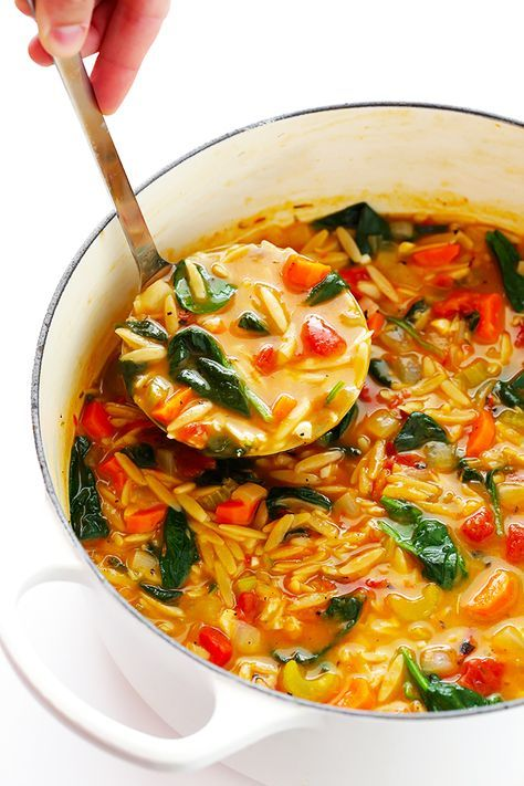 Italian Orzo Spinach Soup #spinachsoup