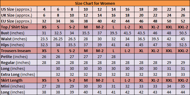 Image result for women's standard size chart