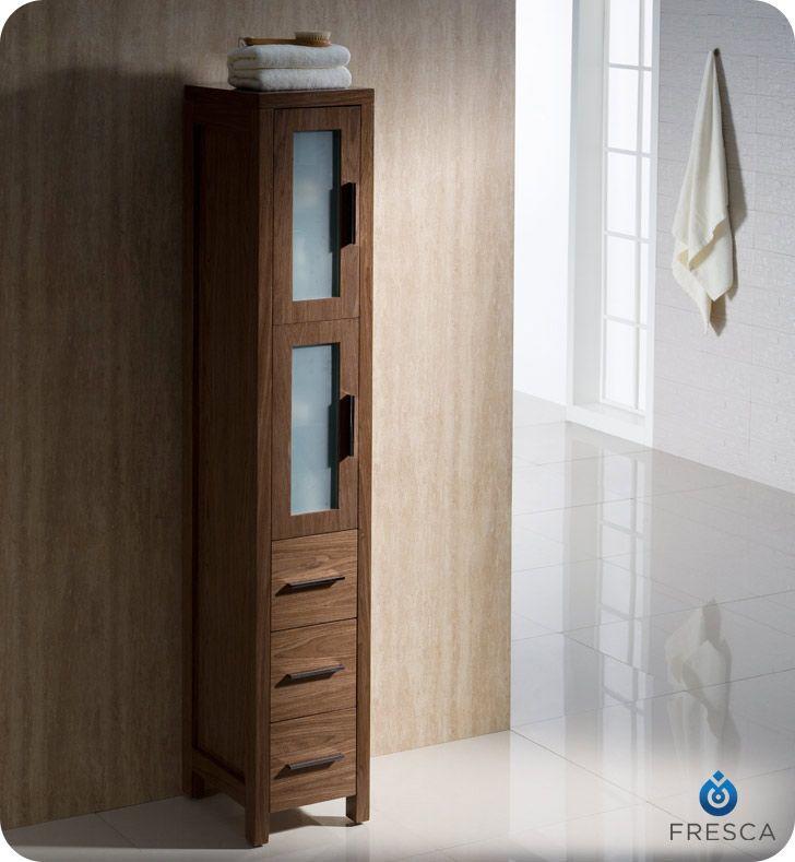 Walnut Tall Bathroom Linen Side Cabinet