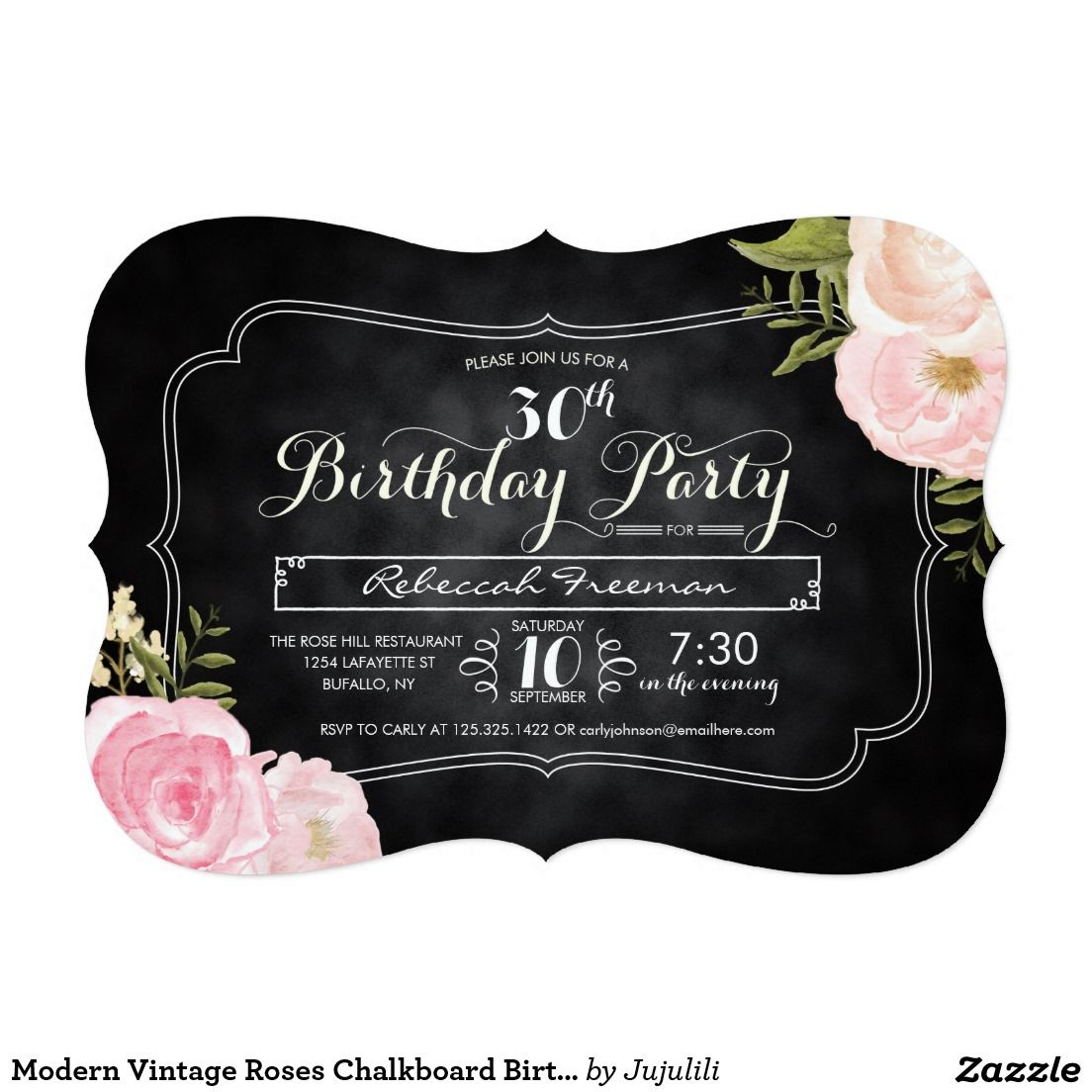 Modern Vintage Roses Chalkboard Birthday Party 5x7 Paper Invitation Card