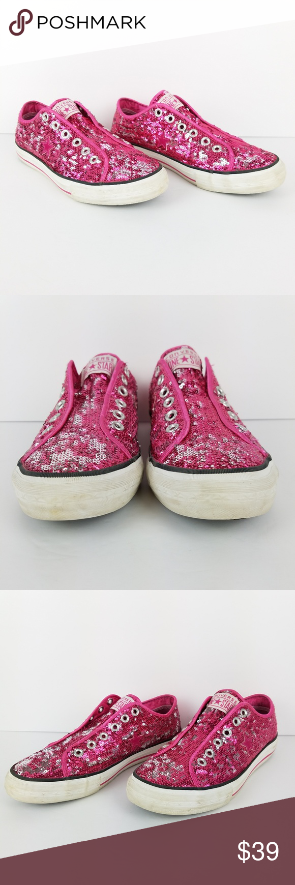 7582369262b9 Converse One Pink Silver Sequin Sneakers 8.5 EUC In excellent