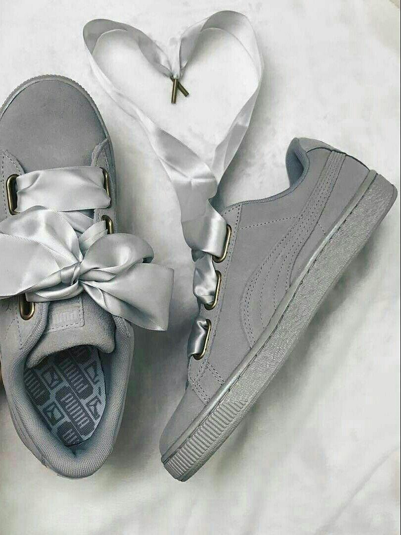 PUMA suede HEART satin | Womens sneakers, Sneakers, Puma suede