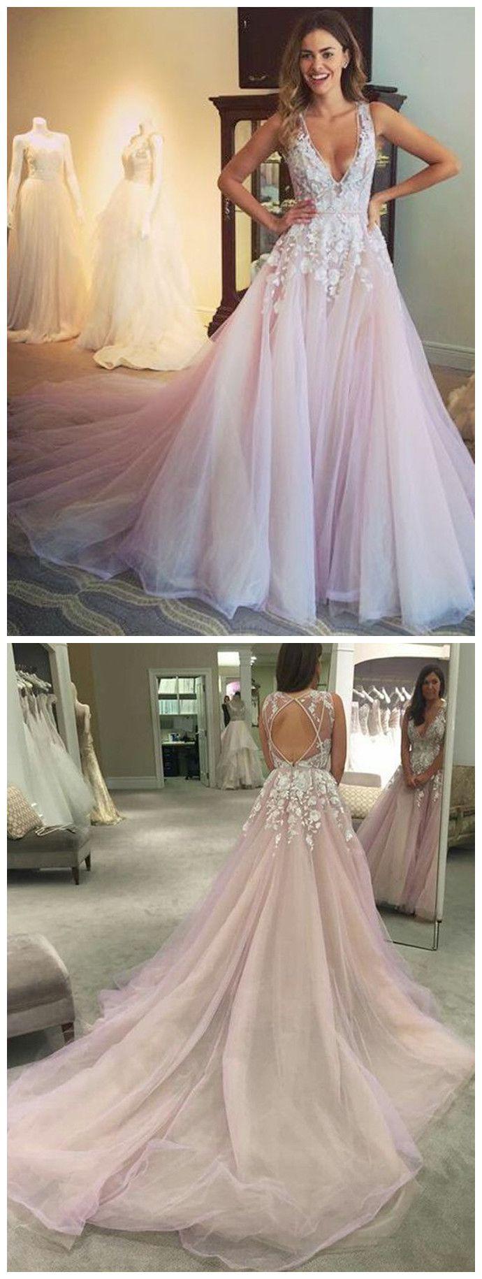 Pretty appliques aline vneck long prom dress evening dress mk