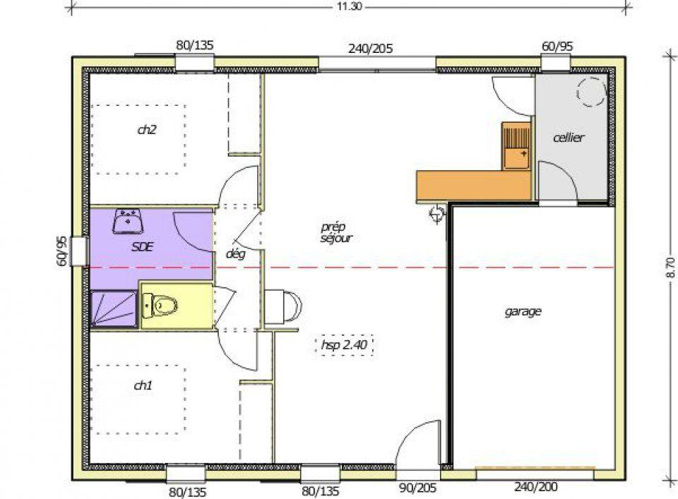 Plan de maison 65m2 for Plan 65