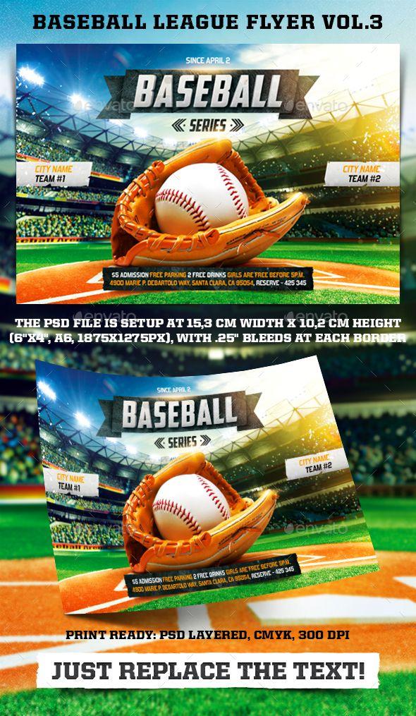 Baseball League Series Flyer Vol  Baseball League Flyer