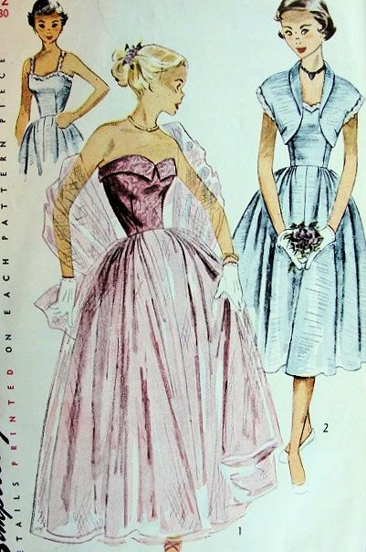 1940s STRAPLESS EVENING DRESS, BOLERO PATTERN 2  LOVELY STYLES SIMPLICITY 3623