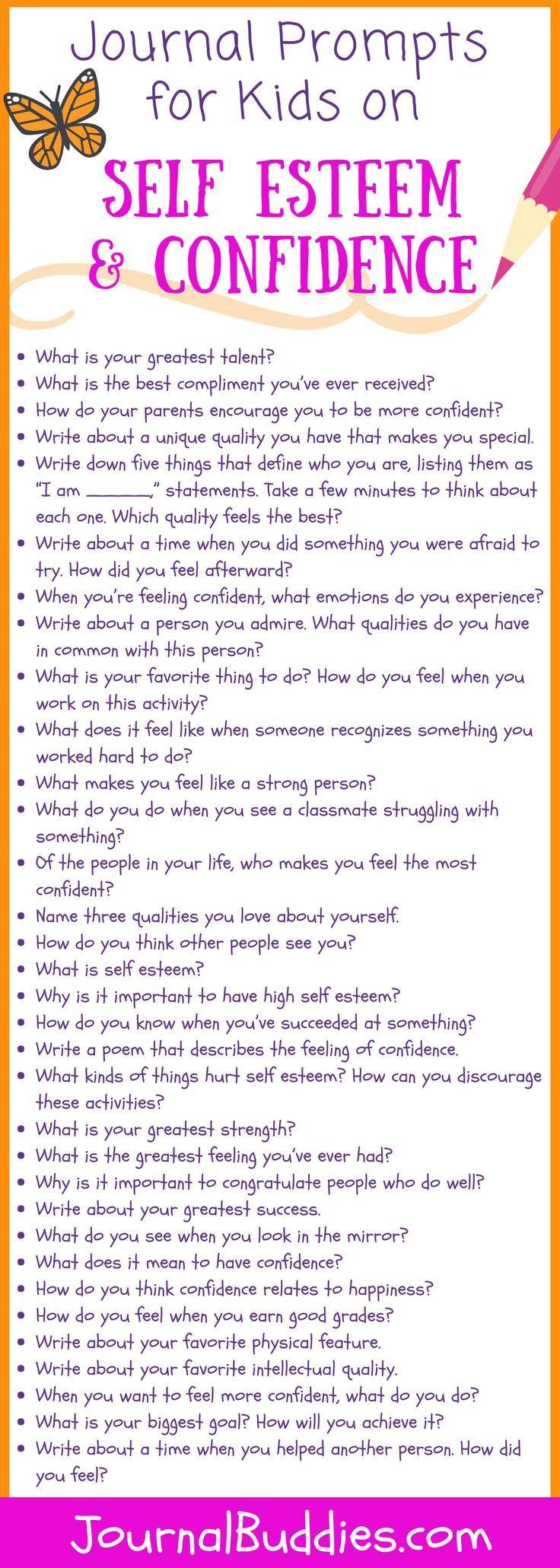 Self Esteem Confidence Journal Prompt For Kid Writing Activities Essay