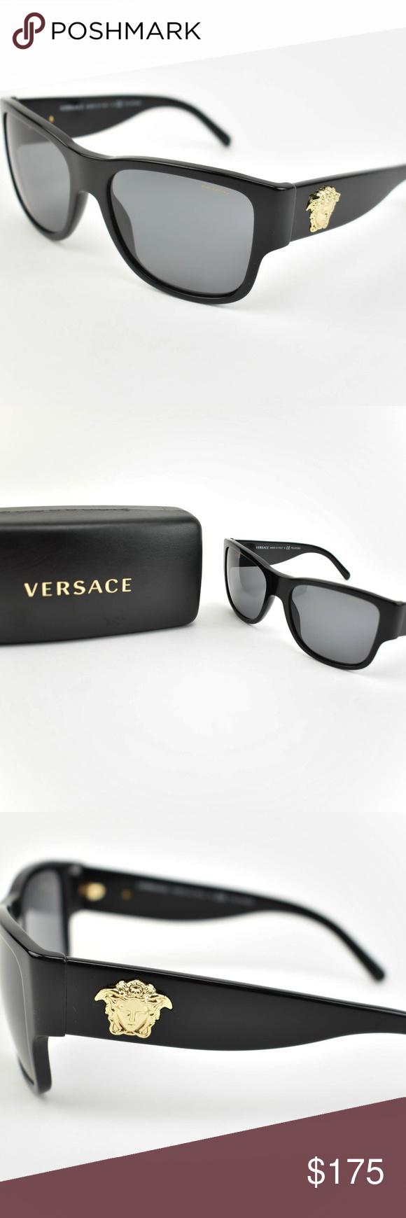 VERSACE Black & Logo Polarized Sunglasses om preowned