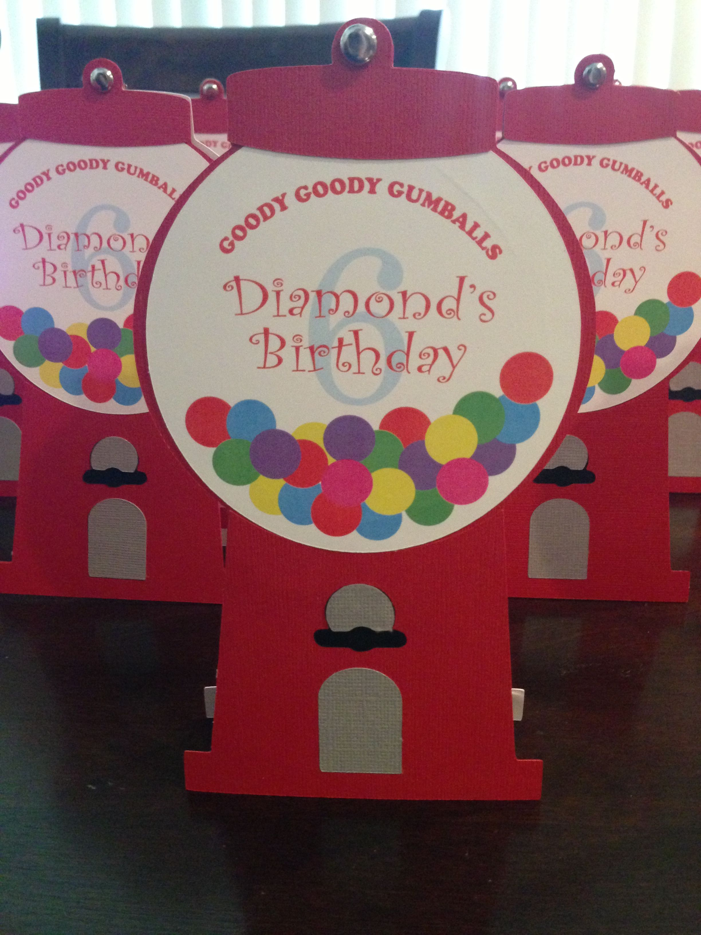 Invitation for Bubble Gum themed birthday party. Created by ...