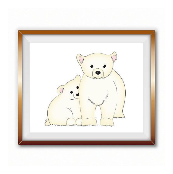 Printable LARGE SIZE Nursery Art Ice Bears ,digital ice bear baby room print, ice bear poster, instant download baby bear and mommy print