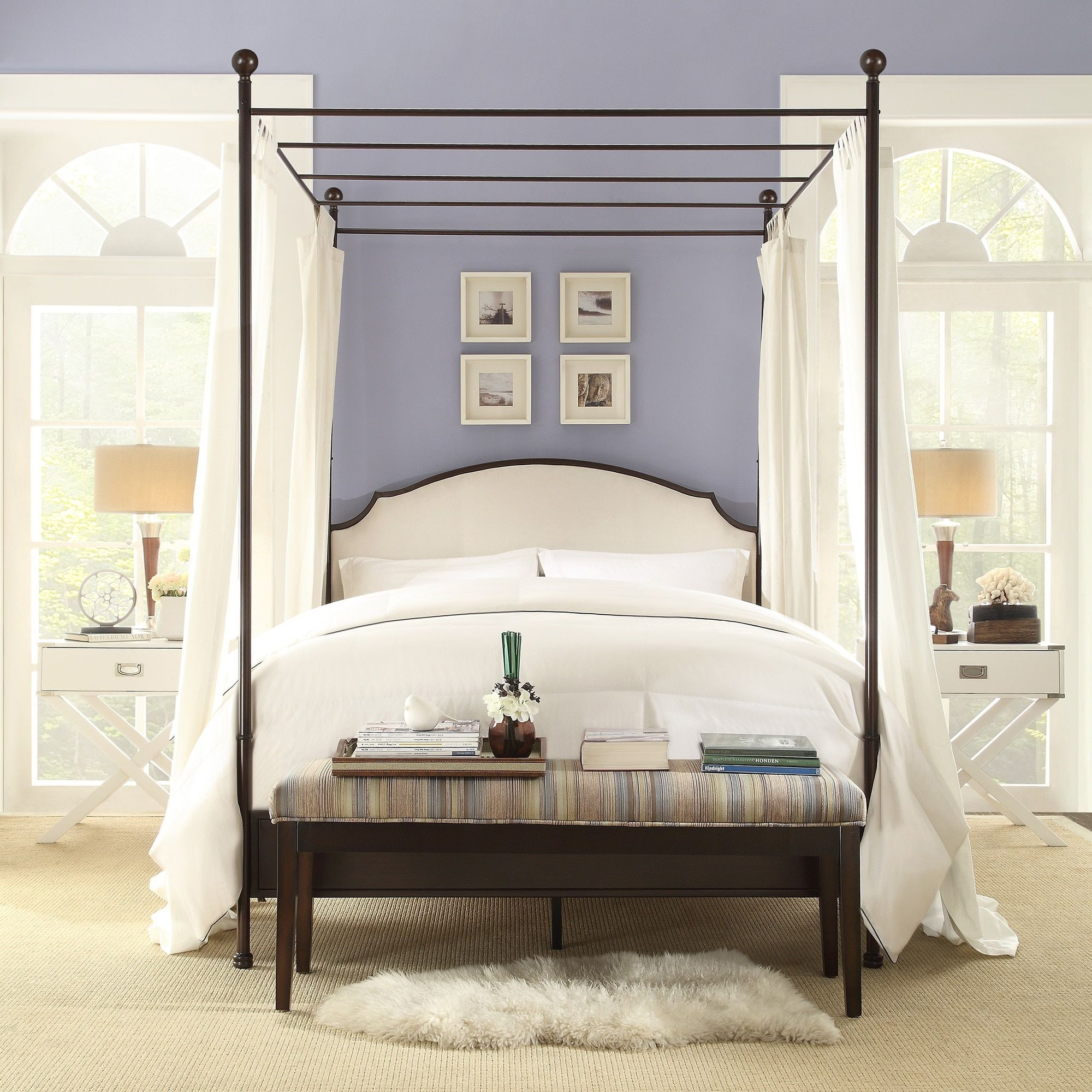 Andover Cream White Curved Top Cherry Brown Metal Canopy Poster Bed by  INSPIRE Q - Free