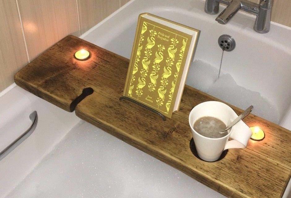 Bath Shelf - Bath Tray - Wine Holder - Book - iPhone - iPad - Bath ...