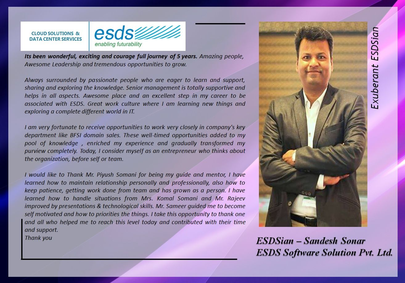 Meet Exuberant ESDSian Sandesh Sonar Success