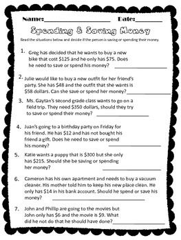Mitosis Versus Meiosis Worksheet Answer Key Word Spending And Saving Money  First Grade  Pinterest  Saving Money  Safety At Home Worksheets with Math Models Worksheets Pdf Spending And Saving Money This Could Be Used As A Wrap Up To Your Lesson  Or A Completion Worksheet Students Will Read The Scenario And Decide If  The Volume Problems Worksheet Pdf