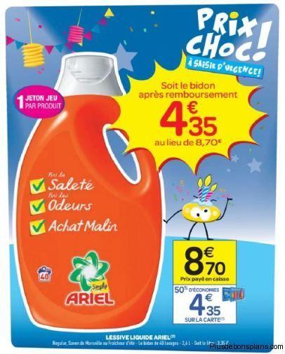 Lessive Liquide Ariel Simply A Moitie Prix Chez Les Magasins Carrefour Market Lessive Lessive Liquide Carrefour Market