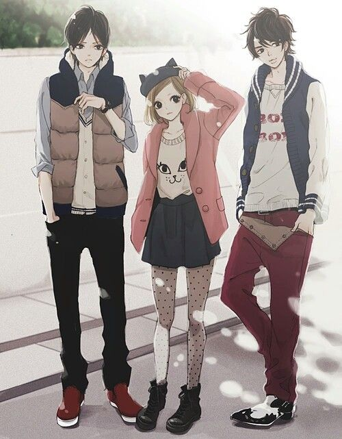 2 Boys And 1 Girl Boy Outfits Cute Anime Character Anime Images