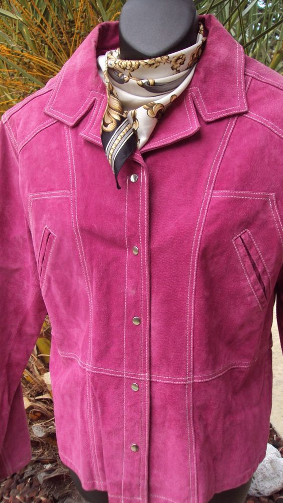 WILSONS M LEATHER MAXIMA Purple SUEDE LEATHER COAT JACKET