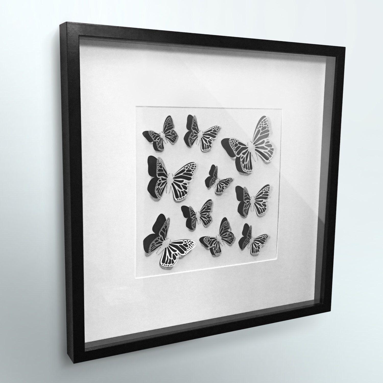 3D Butterfly Wall Art Framed - Laser Cut Butterflies -