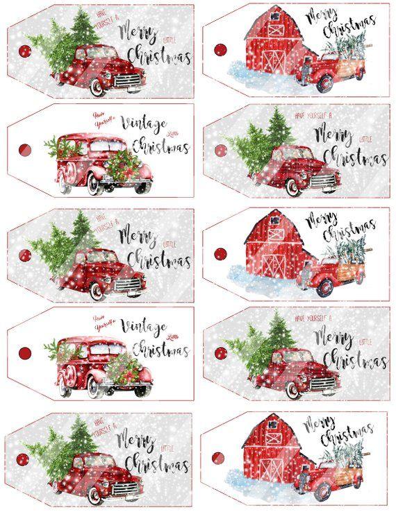 Christmas Tags Printable, Christmas Printable, Digital Download, Buffalo Check, Vintage Truck, Jpeg File, Tags, Farmhouse Style, YOU PRINT