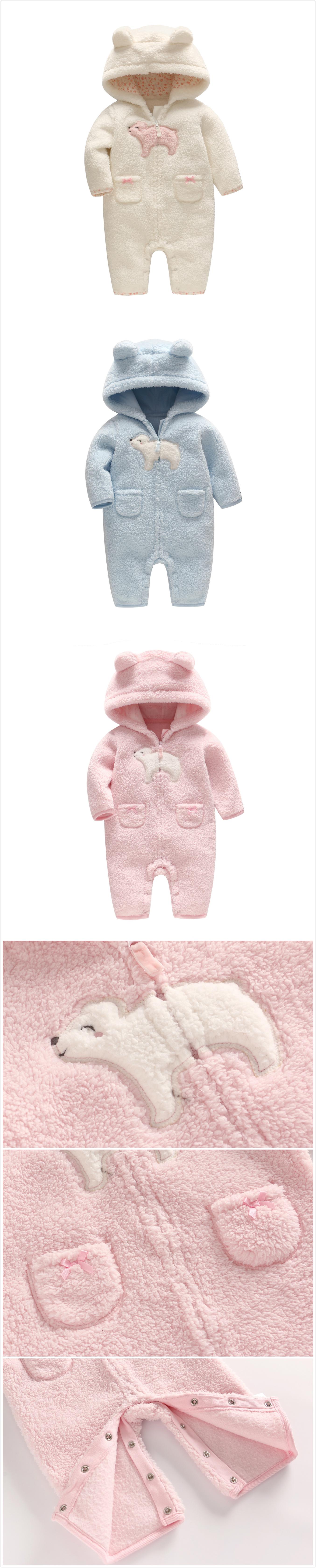 57faae096 Cartoon Polar Bear Cashmere Baby Winter Warm Hooded Jumpsuit 3 ...