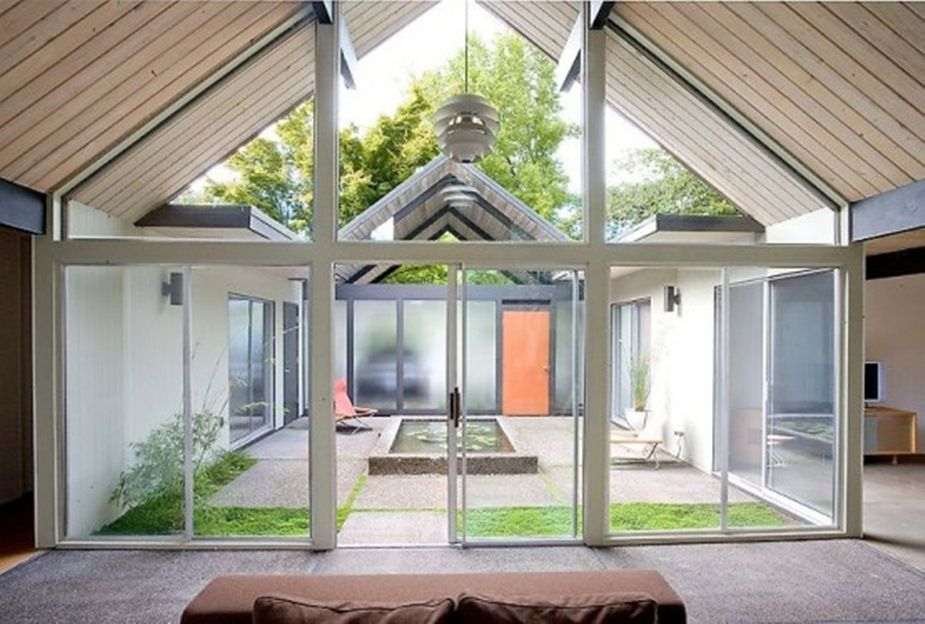Home Designs, Modern House Plans with Exquisite Courtyard : Bright