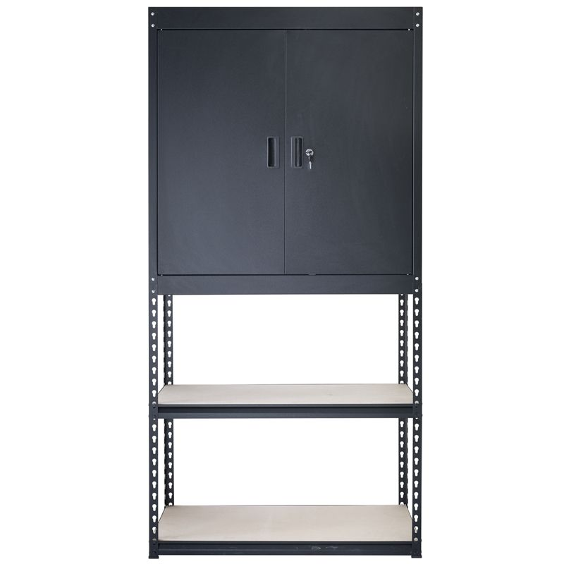 Handy Storage 910 X 1830 X 400mm Black Boltless Combined Shelf Half Cabinet Metal Shelving Units Lockable Cabinets Storage