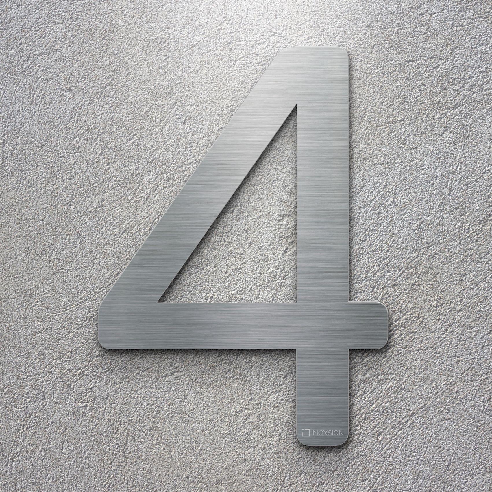 Neu inoxsign edelstahl hausnummer 4 moderne hausnummern aus edelstahl gebürstet design hausnummernschilder erhältlich