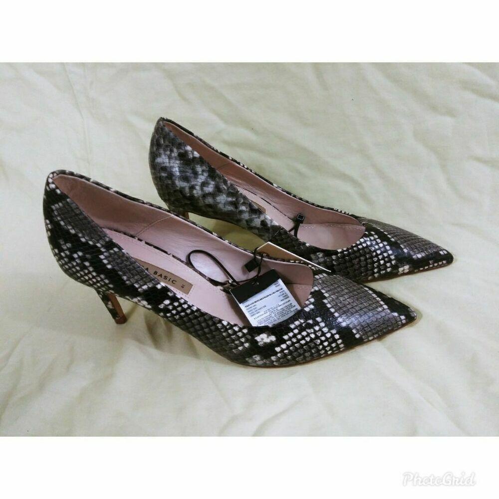 ZARA court low cut heels nude beige patent leather t-bar