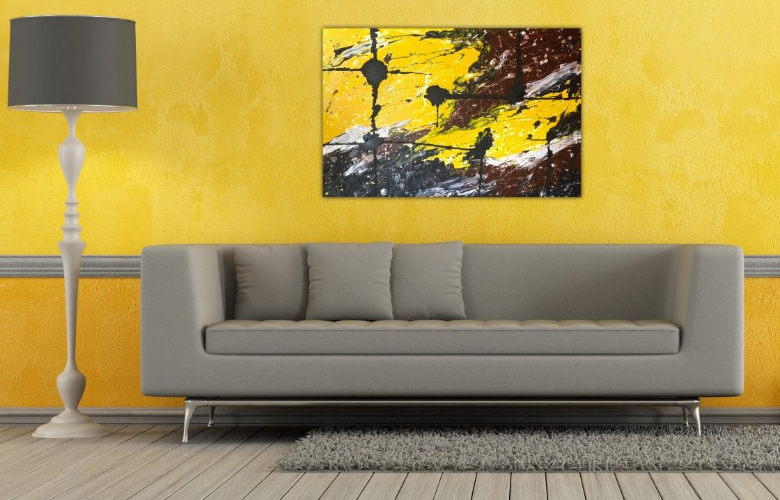 Amazing Simple Living Room Design With Yellow Wall Color Scheme And Cool  Abstract Art Wall Painting Plus Grey Smooth Fabric Couch Using Chrome Metal  Base ...