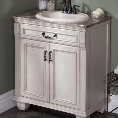 Vanity in Antique White with Stone Effects Vanity Top in  Avalon-CL3018P2COM-AW at The Home Depot - St. Paul Classic 30 In. Vanity In Antique White With Stone Effects