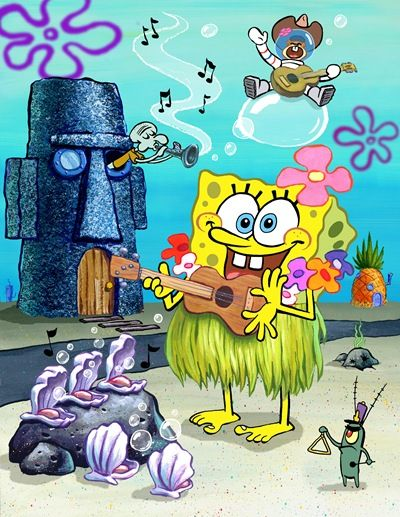 Cartooning Character Design Sherm Cohen Pdf : Spongebob playing the ukulele in hawaiian grass skirt